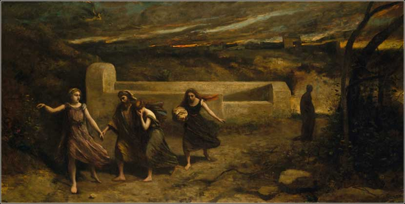 Lot's wife turns to a pillar of salt as Lot and his family escape Sodom, Camille Corot, 1857