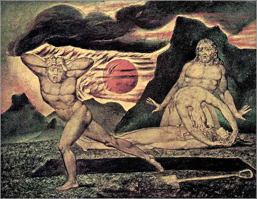 The Body of Abel Found by Adam and Eve, Cain flees, devotional painting by William Blake c. 1826
