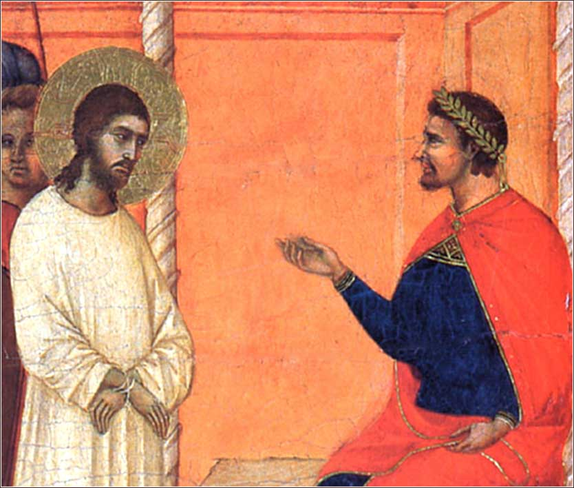 <i>Christ Before Pilate (detail)</i> by Duccio, ca. 1311.