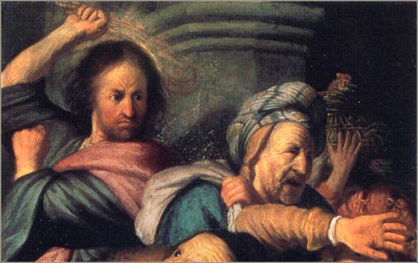 <i>Christ Driving the Moneychangers from the Temple (detail)</i> by Rembrandt van Rijn, ca. 1626.
