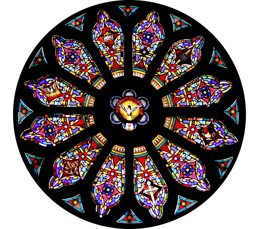 Rose window in Trinity Church, Clarkson University, Potsdam, N.Y.