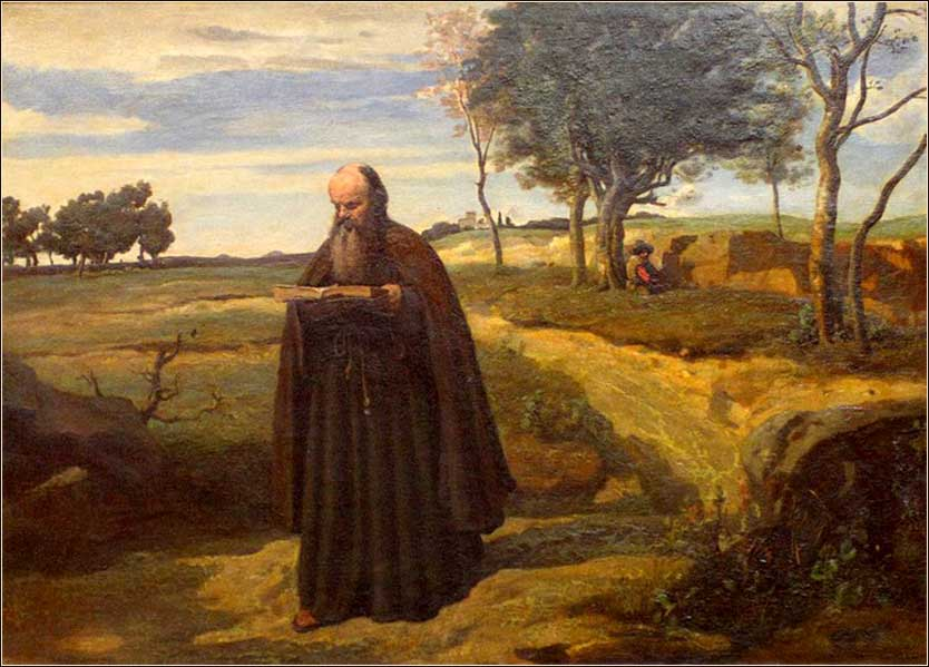 <i>A Walking Monk</i> by Camille Corot, ca. 1840.