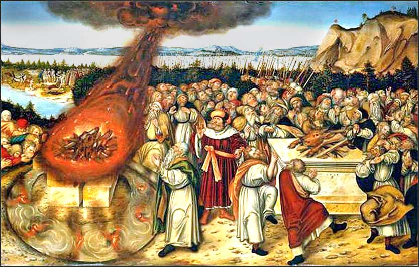 <i>Elijah and the Priests of Baal</i> by Lucas Cranach the Younger, ca. 1545