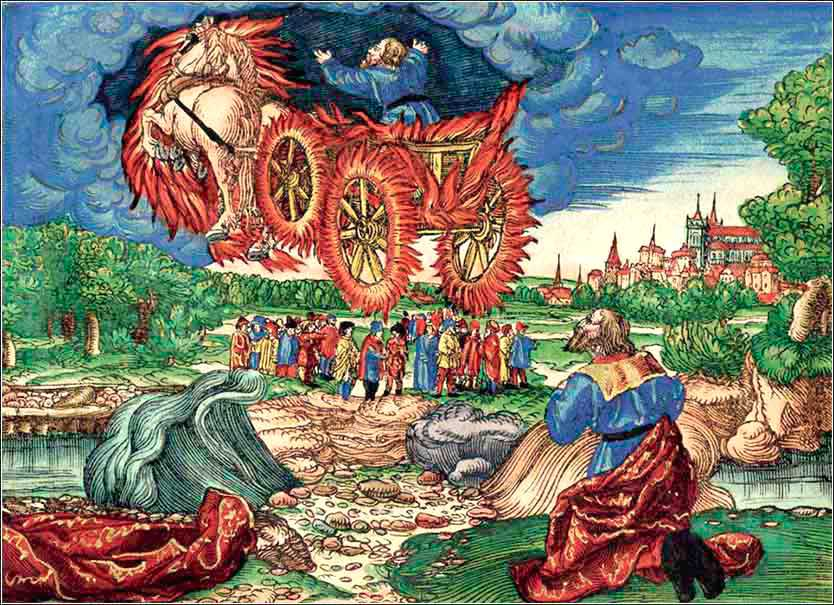 Elijah Taken up into Heaven, Lucas Cranach for Luther's Bible.