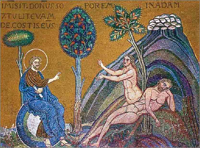 <i>The Creation of Eve</i>, 12th-century mosaic from the Cathedral of Monreale, Siciliy.