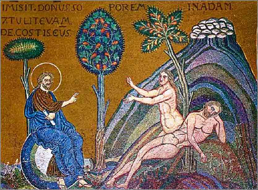 <i>The Creation of Eve</i>, 12th-century mosaic from the Cathedral of Monreale, Sicily.
