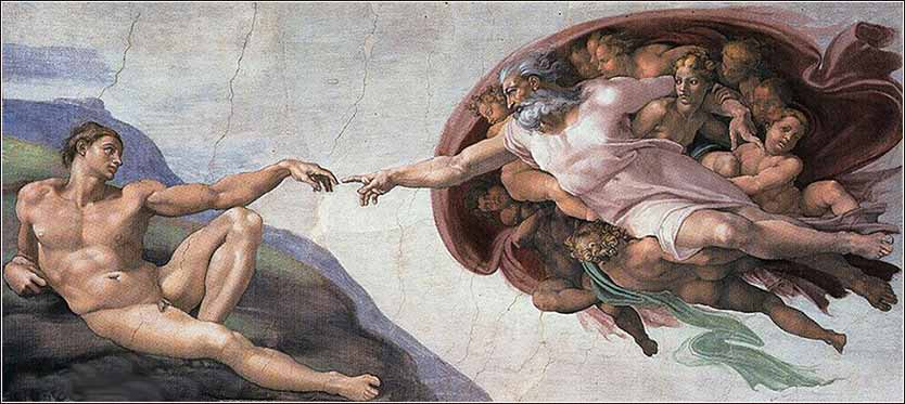 Michelangelo, The Creation, Sistine Chapel - God and Adam