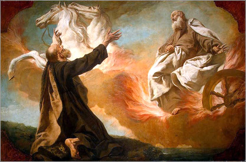 <i>Elijah Taken Up in a Chariot of Fire</i> by Giuseppe Angeli, ca. 1755.