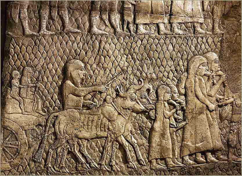 Wall relief from Nineveh, showing the people of Lachish being driven into slavery and exile.
