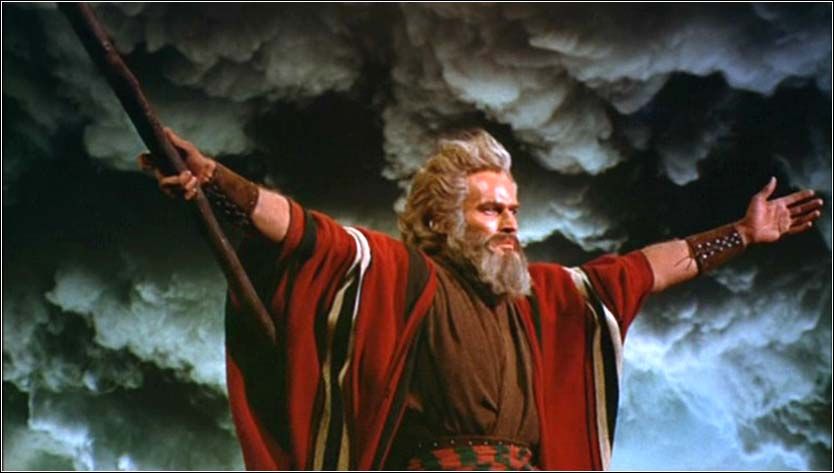 Moses parting the Red Sea, from <i>The Ten Commandments</i> with Charlton Heston