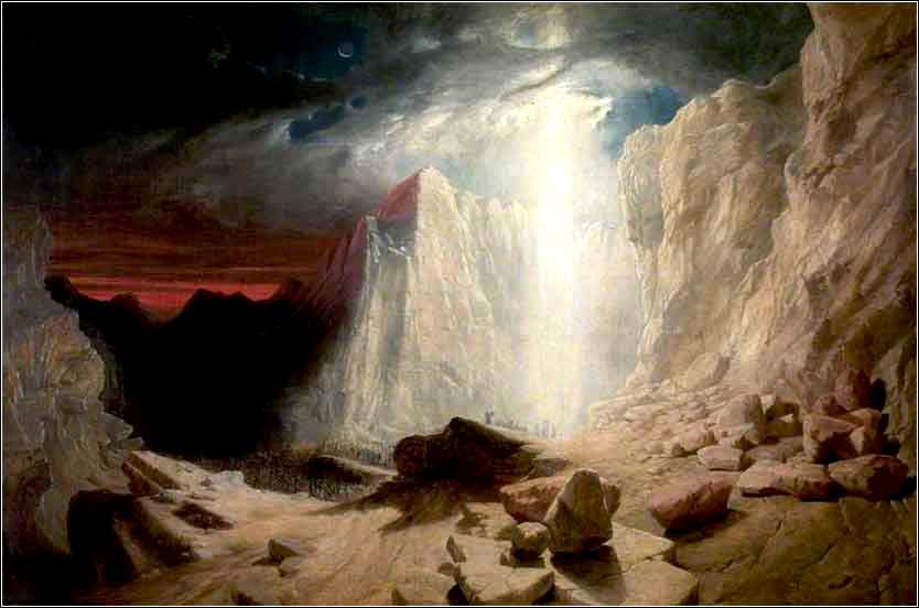 <i>The Israelites Led by the Pillar of Fire by Night </i> by William West, ca.  1845.