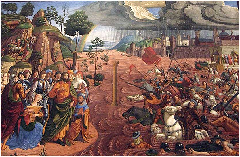 <i>The Crossing of the Red Sea</i>, Sistine Chapel, attributed to Biagio d'Antonio, ca. 1481.