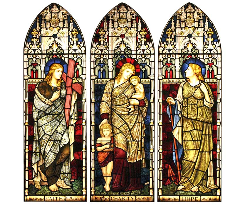 <i>Faith, Charity, Hope</i> by Clayton & Bell, ca. 1880, for Chester Cathedral.