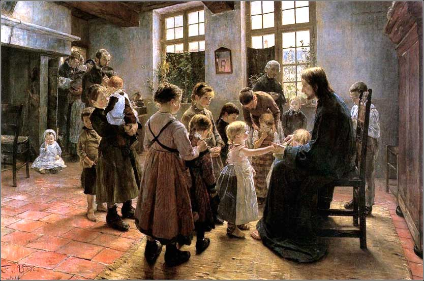 <i>Suffer the Little Children to Come Unto Me</i> by Fritz von Uhde ca. 1884.