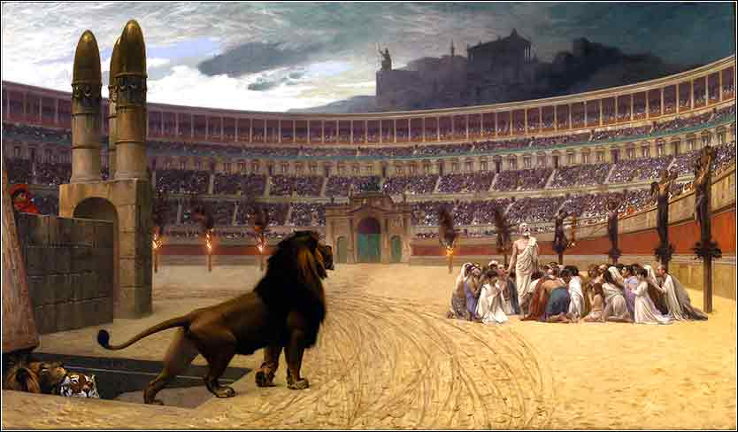 Christians and lions in Rome: Christians last prayer in Roman arena before being fed to lions.