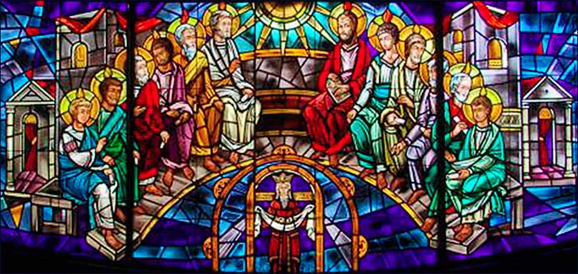 Stained glass  of Christ and the Apostles  from Holy Trinity Church, Waterbury, Conn.