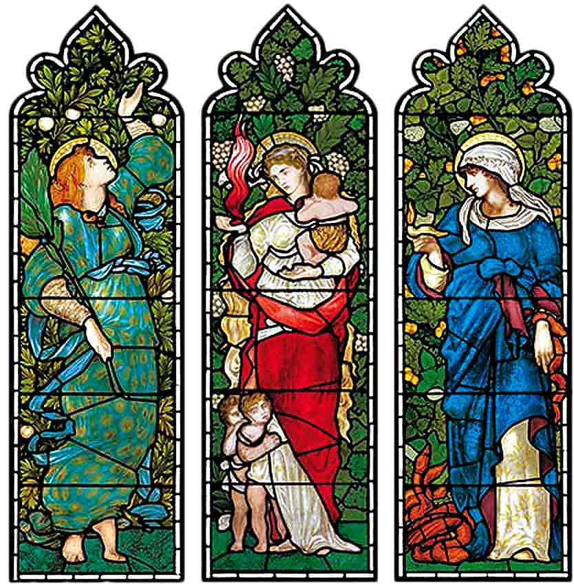 Hope, Charity and Faith by Edward Burne-Jones, Christ Church Cathedral, Oxford.