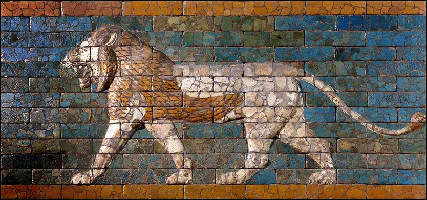 <i>The Striding Lion</i>, symbol of Ishtar from the Wall of Processional Way in Babylon, built by Nebuchadnezzar II.