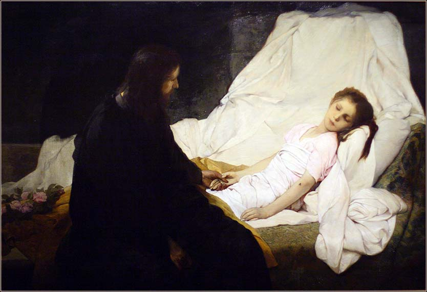 <i>Bible Matthew 9, The Healing of Jairus's Daughter</i> by Gabriel von Max, ca. 1885.