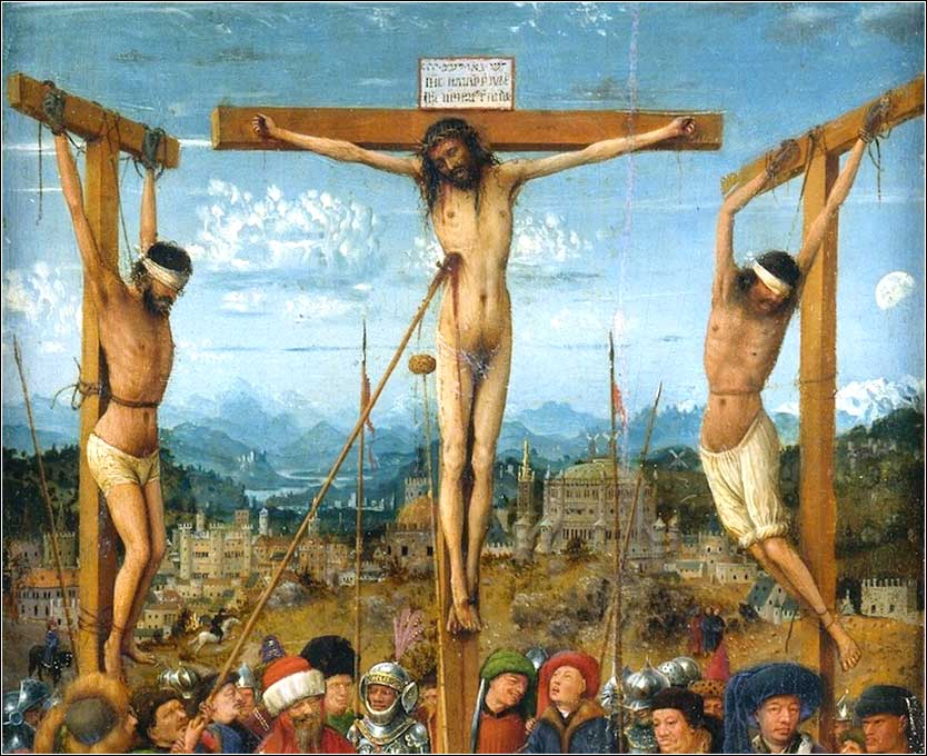 <i>Crucifixion and Last Judgment (detail)</i>, diptych by Jan van Eyck, c. 1430–40.</i>