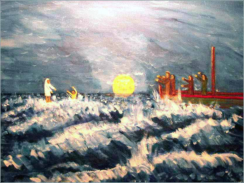 <i>Jesus and Apostle Peter Walk on Water</i> by Larry Farris, contemporary, self-taught artist in Baton Rouge.