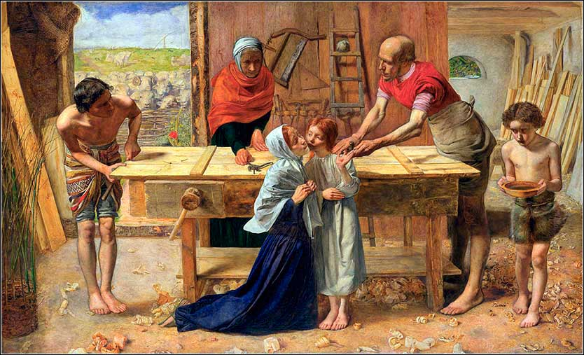 <i>Workshop of the Carpenter</i>, John Everett Millais ca. 1849