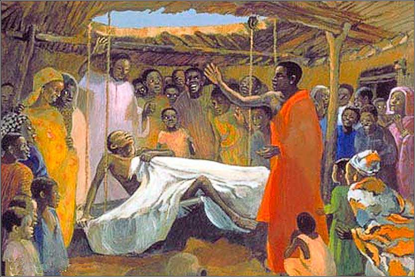 Matthew 9, Bible, <i>Jesus Heals the Paralyzed Man</i>, anonymous contemporary work done for the Evangelical Society of Mafa, a French mission in North Cameroon.