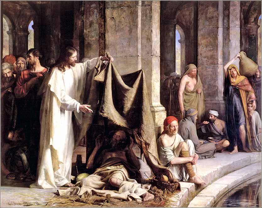 <i>Jesus Heals the Lame Beside the Pool</i> by Carl Bloch, ca. 1870.