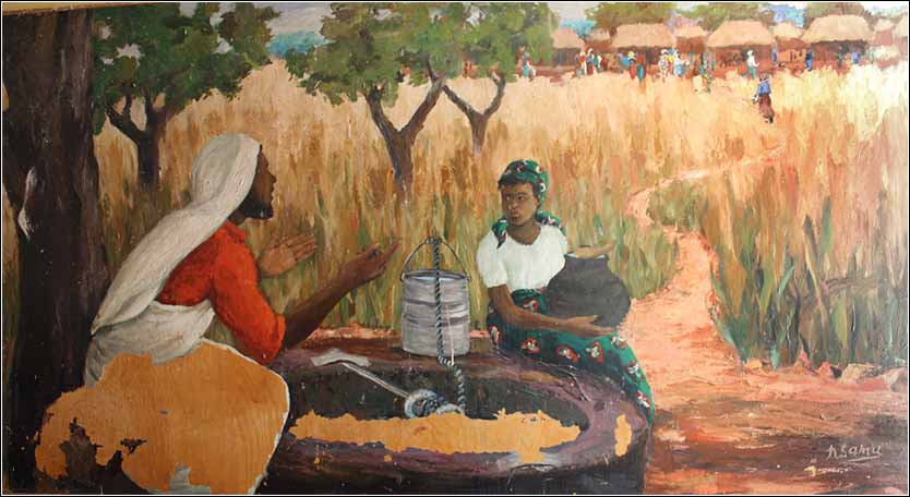<i>Jesus and the Samaritan Woman</i>, a life-size mural in the chapel of the Njase Girls Secondary School, Zambia. Painted by Emmanuel Nsama
