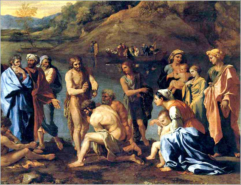 <i>John the Baptist Baptizes the People</i>, Nicholas Poussin ca. 1635.