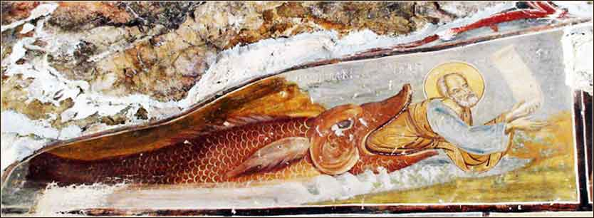 Jonah swallowed by a great fish or whale, Sumela Monastery, Turkey, fresco probably c. 1349