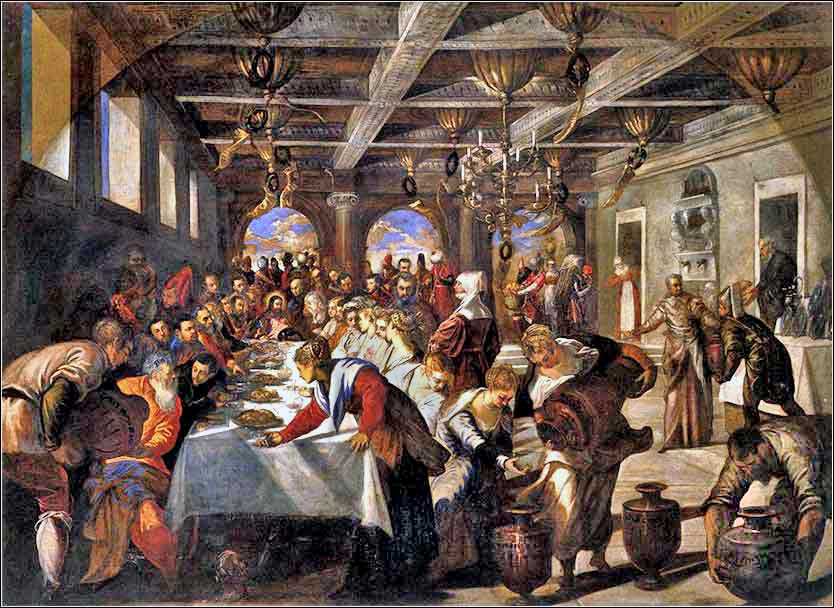 <i>Wedding at Cana</i> by Tintoretto, ca. 1561.