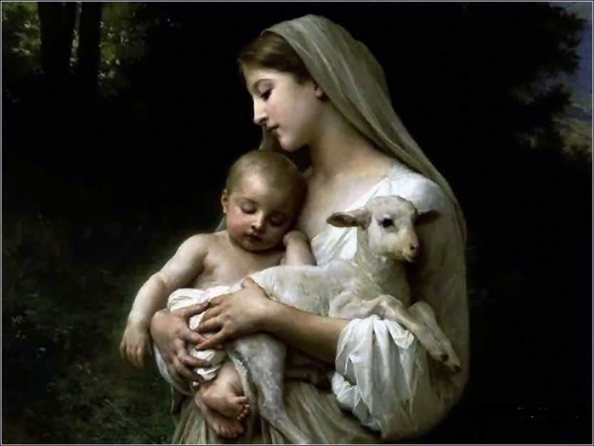 Innocence by Bouguereau, Mary with lamb