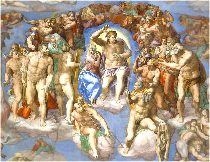 <i>The Last Judgment (detail)</i> by Michelangelo, ca. 1541.