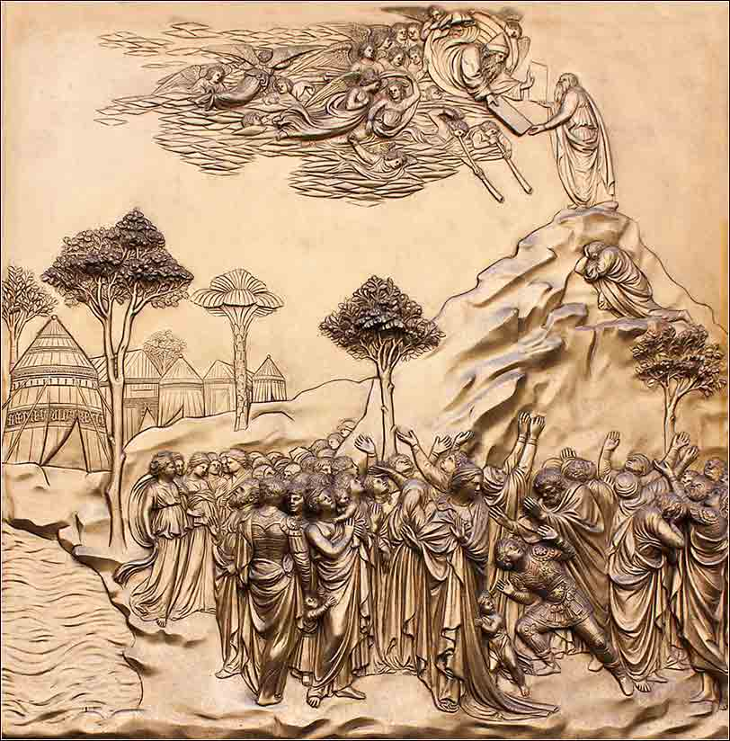 <i>Moses Receiving the Ten Commandments</i>, panel from the Doors of the Baptistery of St. John, Florence, Italy, by Lorenzo Ghiberti ca. 1420.