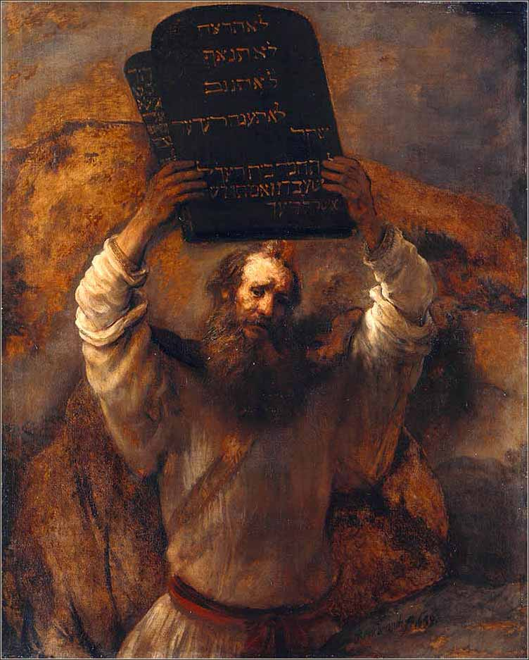 <i>Moses with the Ten Commandments</i>, Rembrandt van Rijn ca. 1659.