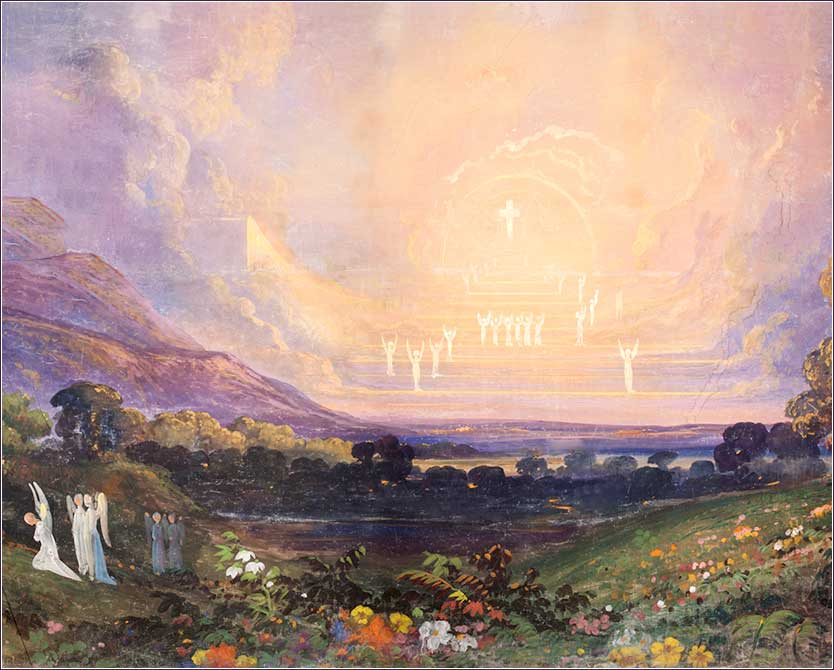 <i>Land of Beulah</i>. This is a restoration of a panel from <i>the Moving Panorama of A Pilgrim's Progress</i>, a project to illustrate John Bunyan's famous allegory, carried out by Frederic Edwin Church, Jasper Cropsey, Daniel Huntington, and others, ca. 1851.
