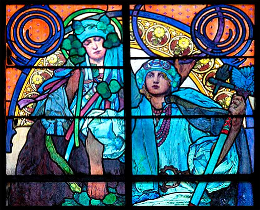 Saint (King) Wenceslas and his grandmother, stained glass for the Cathedral of St. Vitus, Prague, by the famed Czech art nouveau master, Alphonse Mucha, ca. 1931.