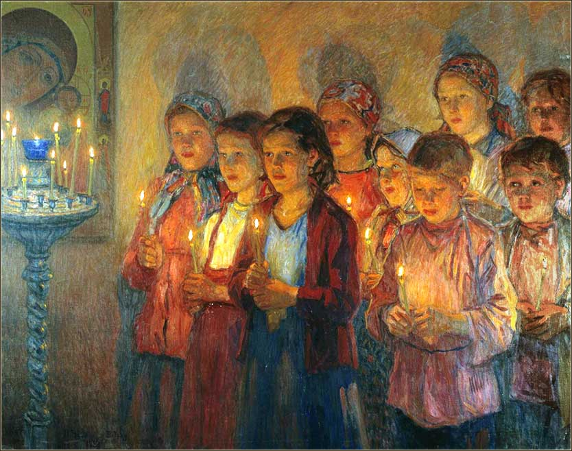 <i>In Church</i> by Nikolai Bogdanov-Belsky, ca. 1939.