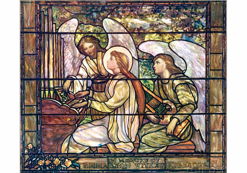 One angel helps St. Cecilia play the organ while another holds a lyre.