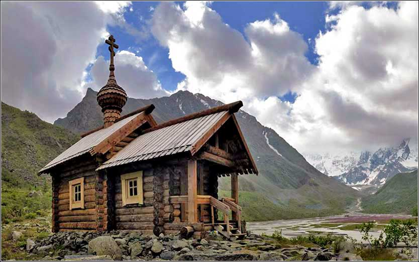 Russian Orthodox rustic wooden church