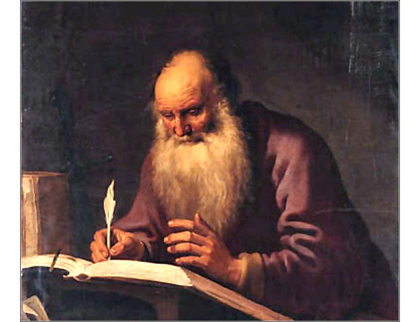 <i>Paul Writing at a Desk (detail)</i> by Lambert Jacobsz, ca. 1630.