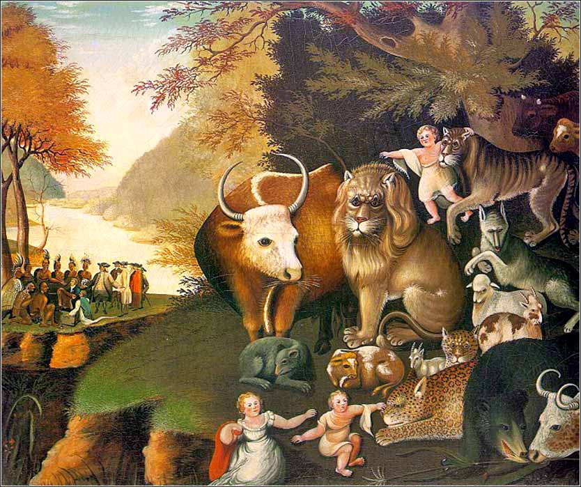 <i>Peaceable Kingdom</i>  by Edward Hicks, ca.1836.