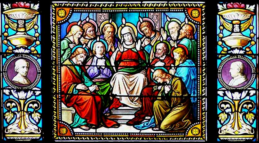 Stained glass window of the Pentecost, from the Church of St. John the Baptist, Wuchzenhofen, Germany.