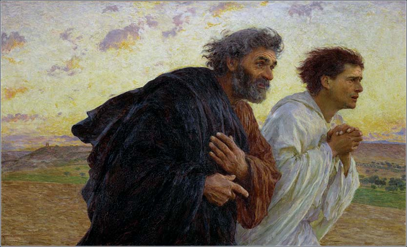 <i>Peter and John Running to the Sepulchre</i> by Eugene Burnand, ca. 1898.