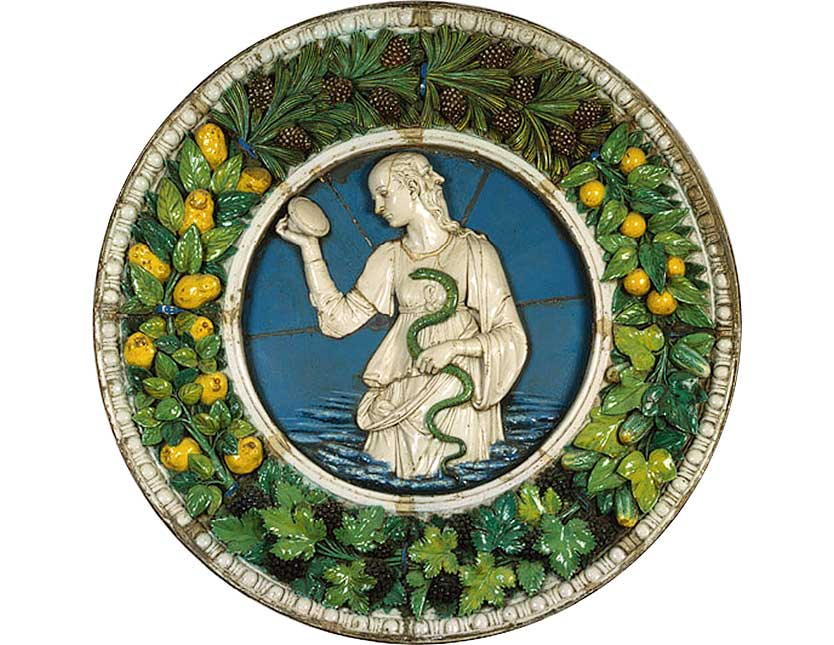 <i>Prudence</i>,  glazed terracotta, ca. 1470, by the extraordinary Andrea della Robbia,