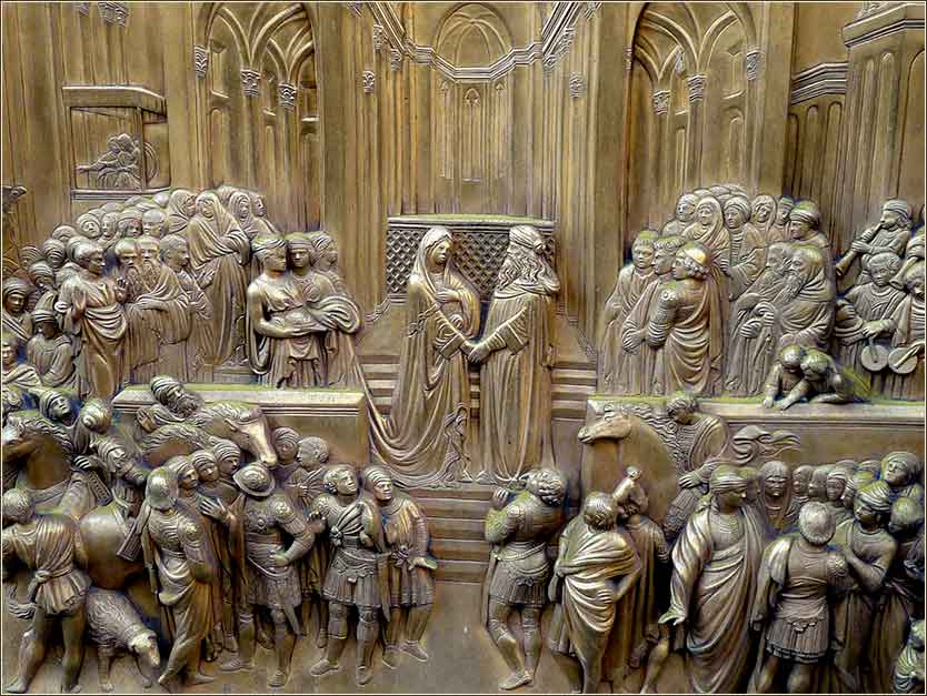 <i>Solomon Meets the Queen of Sheba</i>, Florence Baptistery, Lorenzo Ghiberti ca. 1420-30.