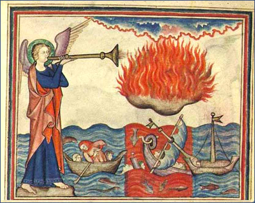 The Second Trumpet (Revelation 8:8), as depicted in the 14th Century <i>Cloister Apocalypse</i>.