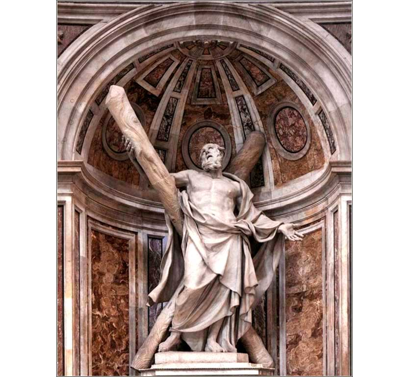 <i>Saint Andrew</i>, by François Duquesnoy,  ca. 1633. This magnificent statue in St. Peter&rsquo;s Basilica (Rome) shows Andrew at the moment of his crucifixion, on the famous