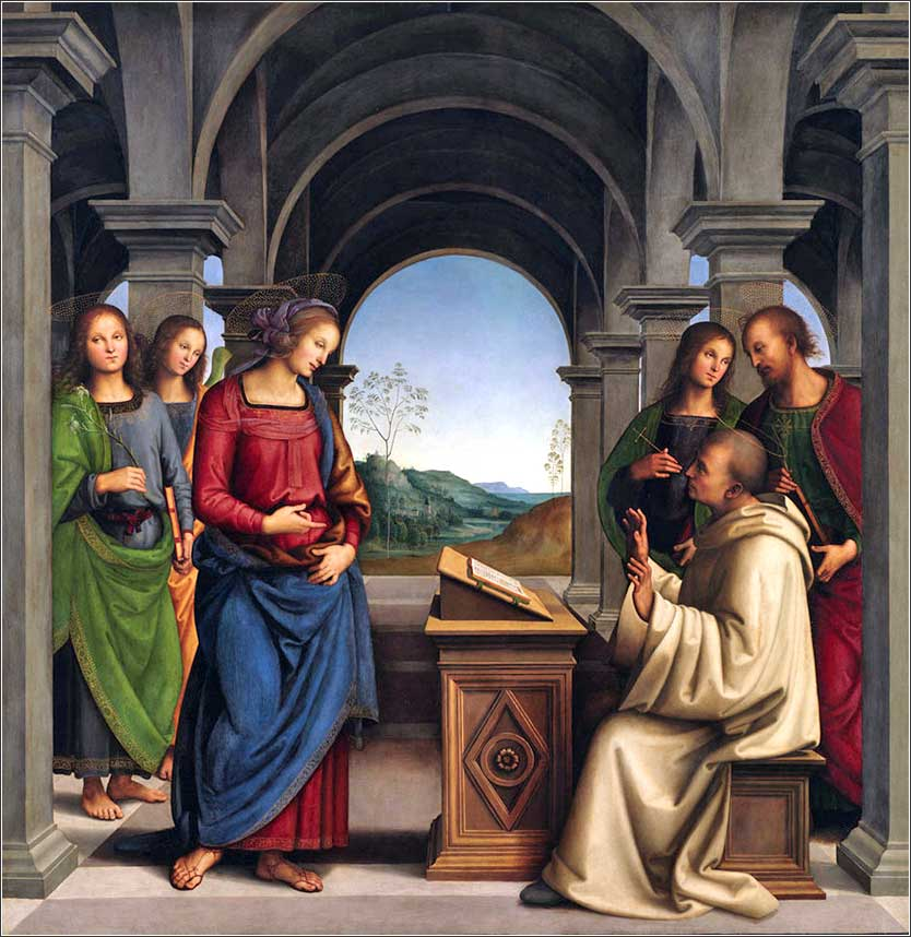 <i>The Virgin Appearing to St. Bernard</i> by  Pietro Perugino, ca. 1490.